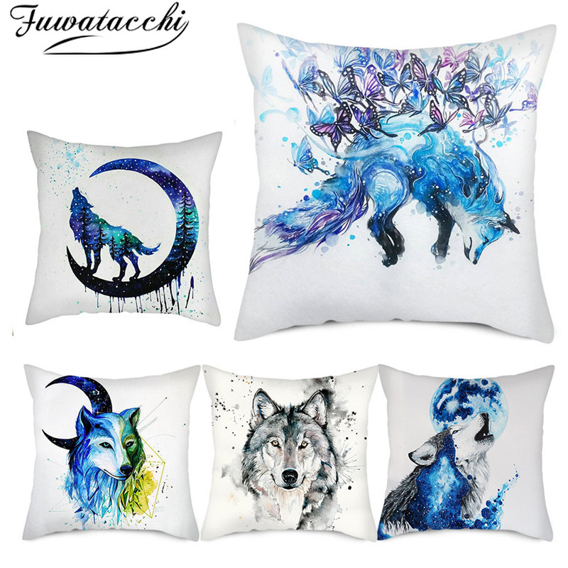 Fuwatacchi Abstract Painting Animal Pillow Cover Majestic Wolf Photo Cushion Covers For Home Sofa Decorative Pillowcases 45x45cm