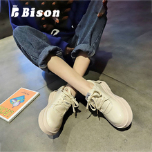 Bison Spring Causal Shoes Women Patent Leather Thick Bottom Shoes Female Tide Casual Shoes Lace-Up Autumn Lace Up Fashion Shoes