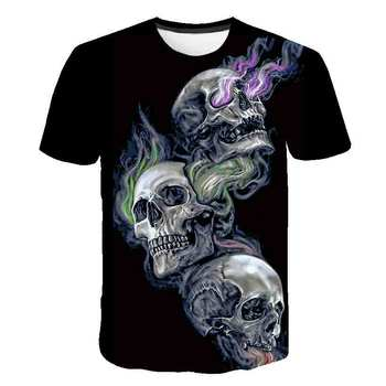 Summer men's T-Shirt New 3D printing t-shirt men's skull devil T-shirt Street casual printing T-shirt Summer Black T-Shirt round