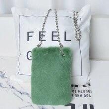 2020 Korean Whole Mink Fur Cell Phone Bag Women Lovely Mini Handbag Real Leopard Singer-shoulder Bags Beaded Chain Card Holders
