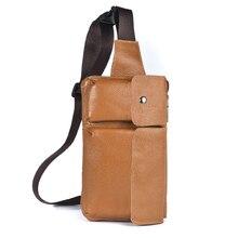 Genuine Leather Men Waist Packs Retro Multifunction Pockets Outdoor Sports Leisure Messenger Chest Bag Fanny Pack Man Shoulder