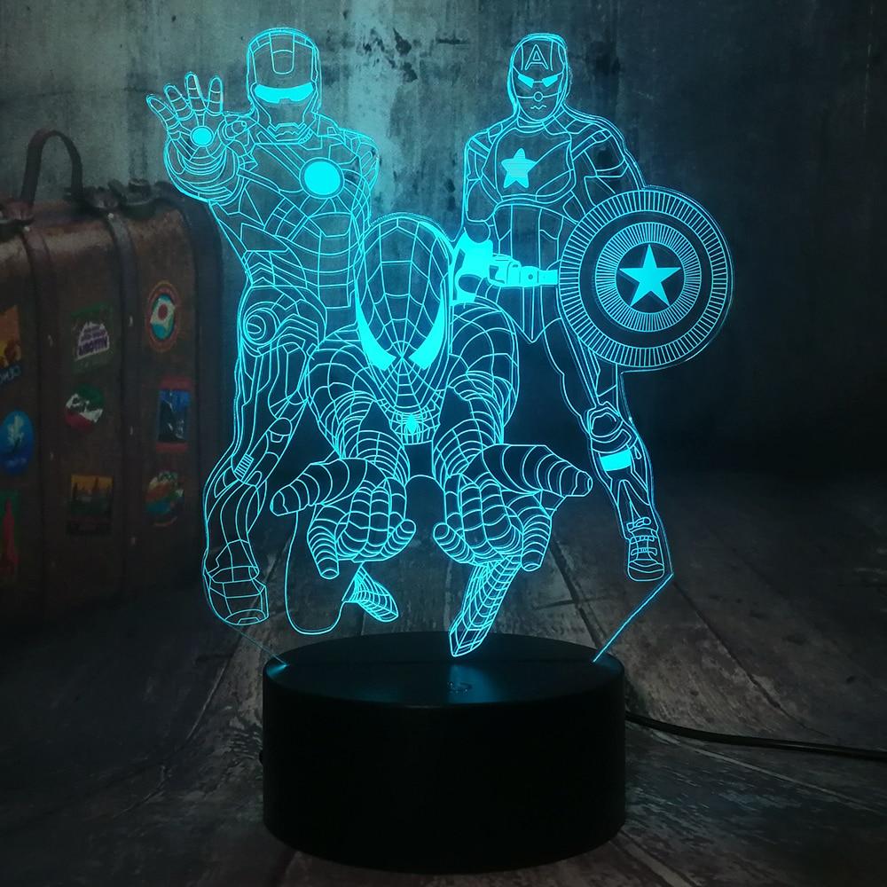 The Avengers Marvel Comics Iron Man Spiderman Captain America 3D LED Night Light Kids Toy Christmas Gift Desk Lamp Bedroom Decor