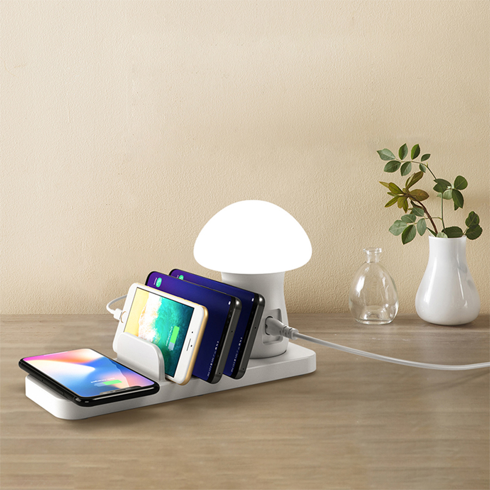 Multiple device charging station  with wireless charger and night lamp for apple iPhone and android