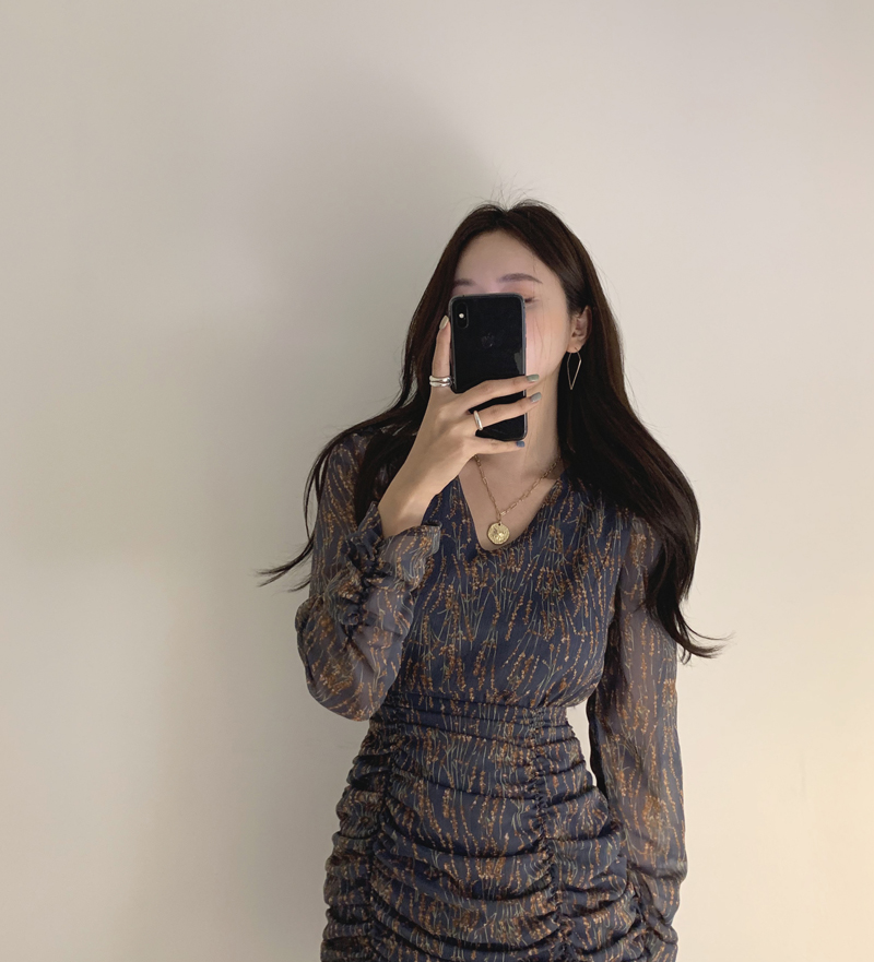 Hec58ae38a87645cb93c7051dcd1fda41K - Autumn V-Neck Long Sleeves Chiffon Pleated Floral Print Mini Dress