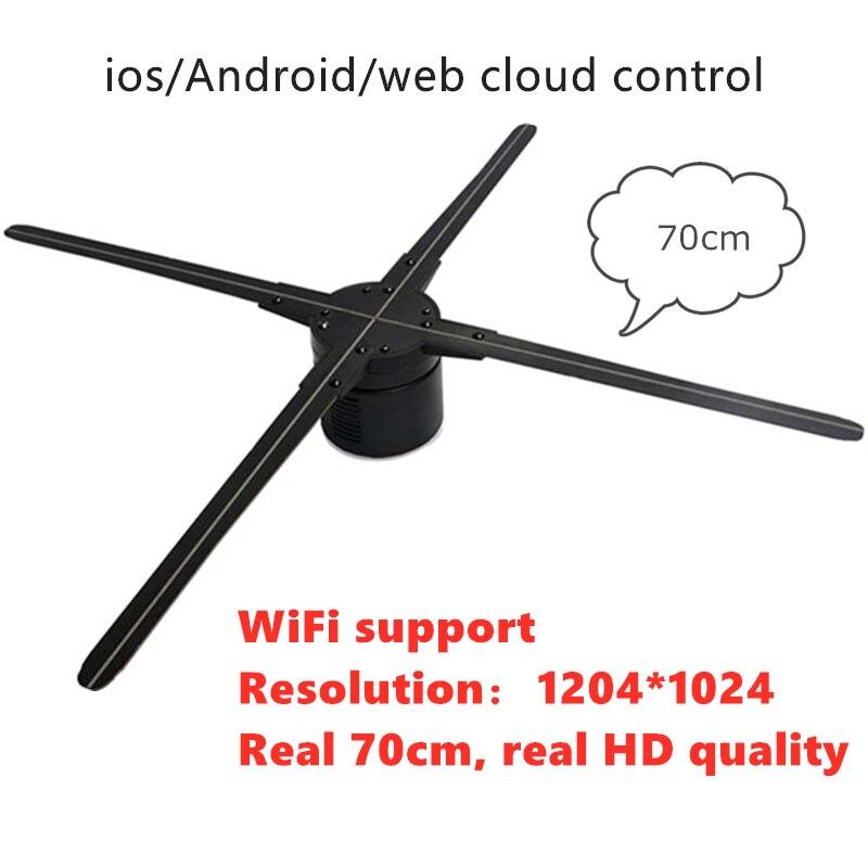 70cm wifi (IOS/Android/contrôle de nuage Web) 3D hologramme publicité ventilateur LED affichage holographique publicité lumière