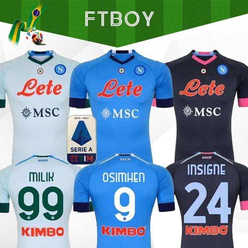 Camiseta de fútbol Napoli, camiseta de fútbol de Napoli 2020 2021 KOULIBALY camiseta de fútbol insignia MILIK maillots H. Locano MERTENS|Conjuntos para hombres| - AliExpress