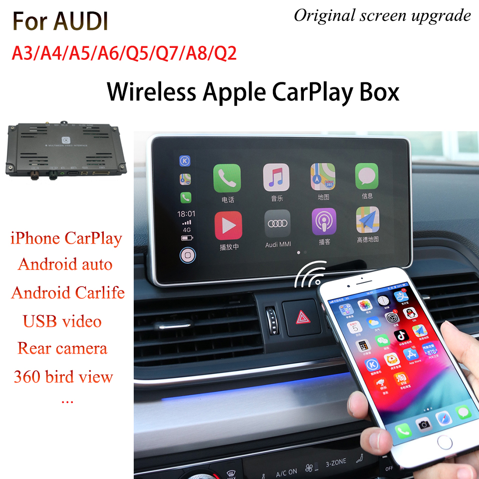 Smart Apple Wireless Carplay Interface Box For AUDI A3 A4 A5 A6 A8 Q5 Q7 Q2 CarPlay Moduler GPS Navigation Support Android Auto image
