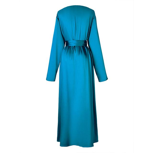 [EAM] Women Belt Pleated Temperament Long Dress New V-Neck Long Sleeve Loose Fit Fashion Tide All-match Spring Autumn 2020 1B136