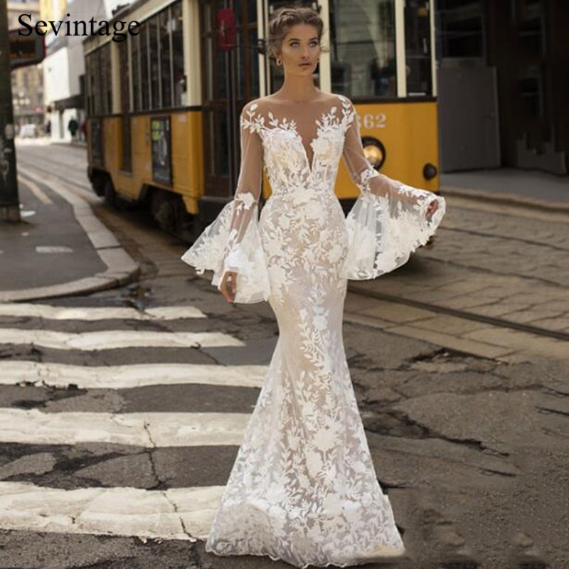 Sevintage Mermaid Boho Wedding Dresses Long Flare Sleeves Lace Bridal Gown with Buttons Beach Wedding Gowns Custom Made