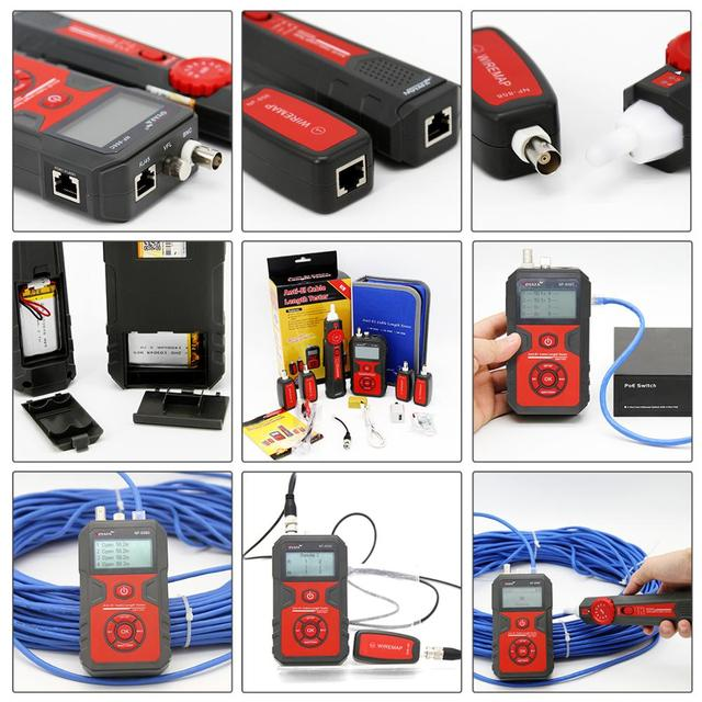 NOYAFA NF-858C Trace Cable Line Locator Portable Wire Tracker Cable Tester Finder Network Cable Testing BNC Measure Cable Length 6
