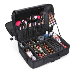 Женский Профессиональный чемодан коробка для макияжа косметичка Органайзер чехол для хранения на молнии Большие туалетные принадлежности...