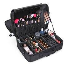 Kobiety profesjonalna walizka pudełko do makijażu makijaż kosmetyczny organizator do torby futerał do przechowywania Zipper duża duża kosmetyczka kosmetyczka