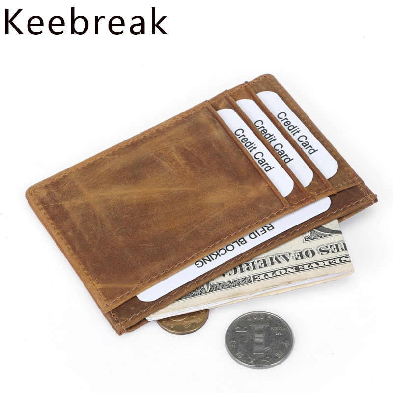 Rfid Genuine Leather Credit Card Holders Men Slim Minimalist Wallet Mini Cardholder Case Male Business id CreditCard Pocket Bag