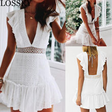 White Lace Patchwork Summer Mini Dress Sexy Deep V Neck Sleeveless Elegant Ruffles Party Club Dress Vacation Beach Dresses Robe(China)
