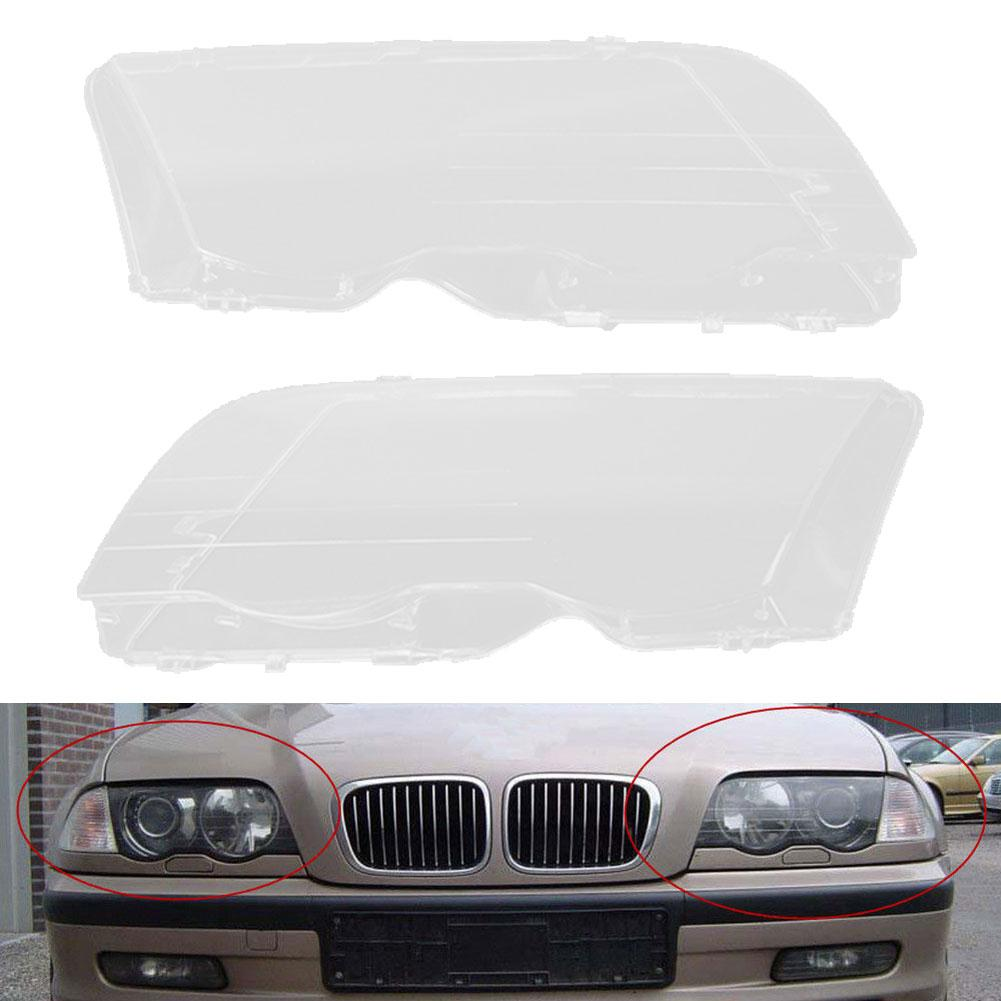 1 <font><b>Pair</b></font> Left Right <font><b>Headlight</b></font> Headlamp <font><b>Lens</b></font> <font><b>Cover</b></font> for BM-W E46 3 Series 1998-2001 Automobile carros Accessories автомагнитола image