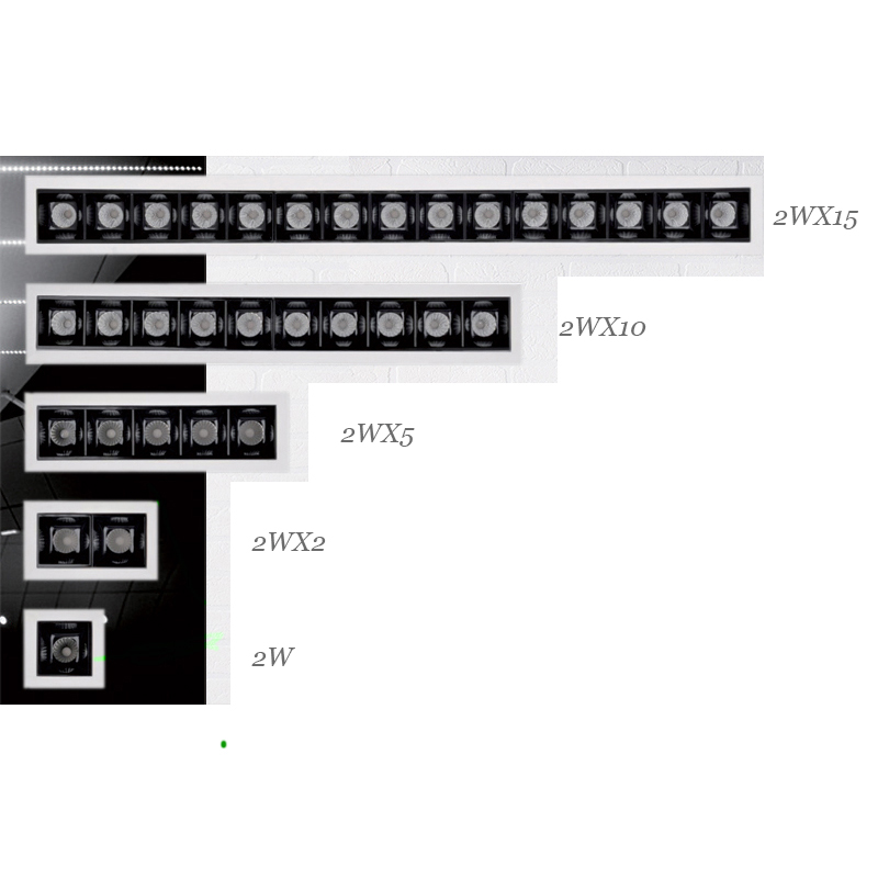 Uniform Illumination 2W 2WX2 2WX5 Invisible Source CRI90 Recessed Trimless DALI Linear Led Downlight Beauty Outlook
