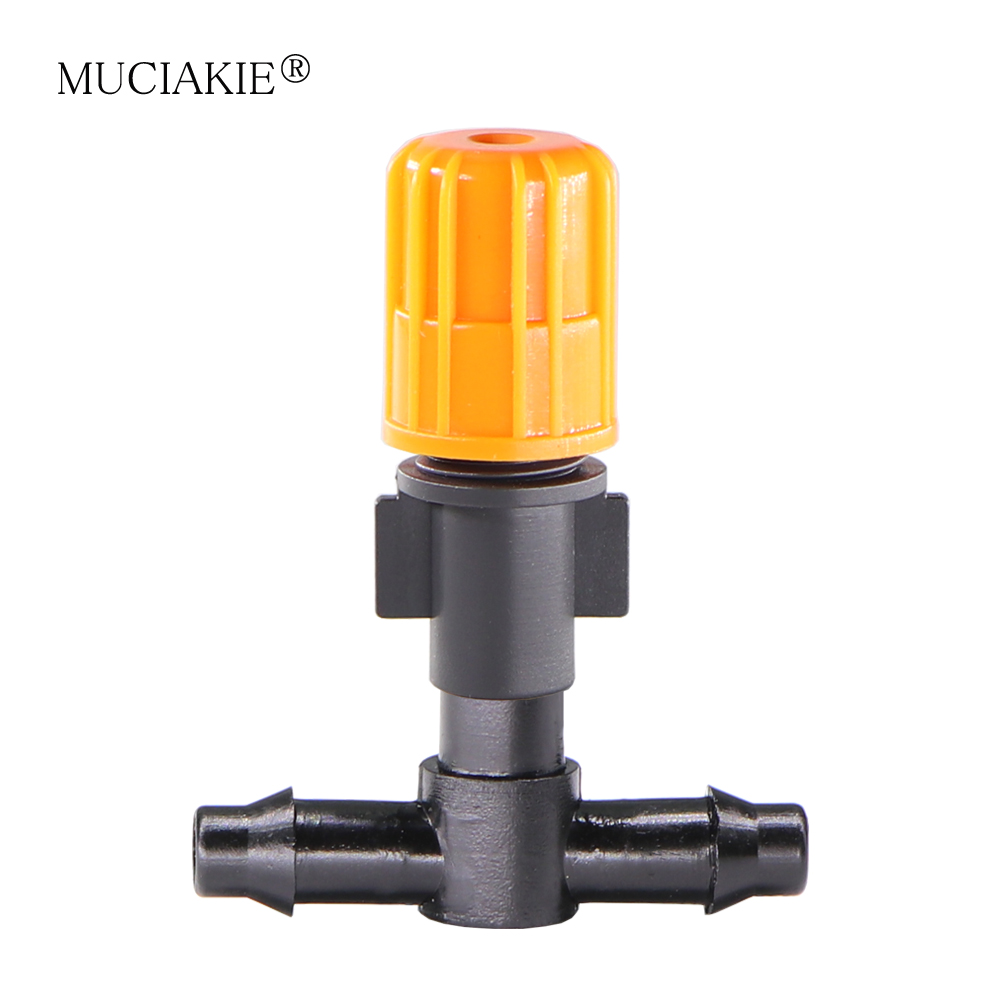 MUCIAKIE 20PCS Garden Adjustable Misting Nozzle Spray Watering Sprinkler Atomizer Drippers With 4/7mm Pipe Barbed Tee Connectors