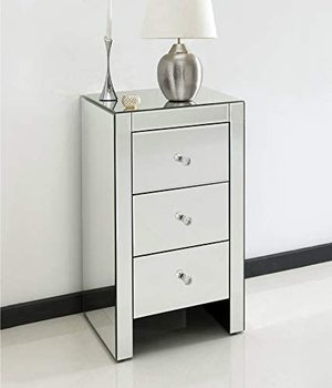 3 Drawer Mirrored Bedside Table 1