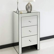 Tables Mirrored-Glass Lined-Drawers Bedside-Cabinets Bedroom-Furniture Glass-Handles
