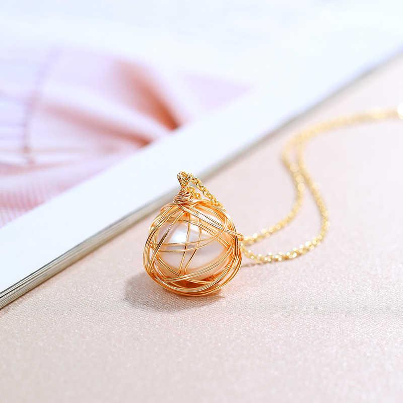 DAIMI collier de perles nid d'oiseau Cage 12-13mm rond naturel perle pendentif collier pour les femmes