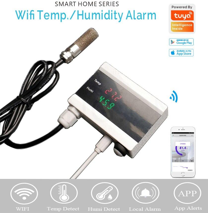 Tuya WIFI termómetro de temperatura humedad higrómetro Detector de alarma Sensor de vida inteligente App hogar termostato controlador 2019 nuevo Detector de humo WIFI Tuya APP Sensor de alarma de incendios alarma de humo independiente protección Android