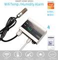 Tuya wi fi temperatura termômetro higrômetro umidade detector de alarme sensor vida inteligente app casa termostato controlador