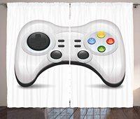 Cortinas de jogo modernas  gamepad com botões coloridos de ação com joysticks e d-pad para sala de estar quarto cortinas de janela cinza cinza cinza