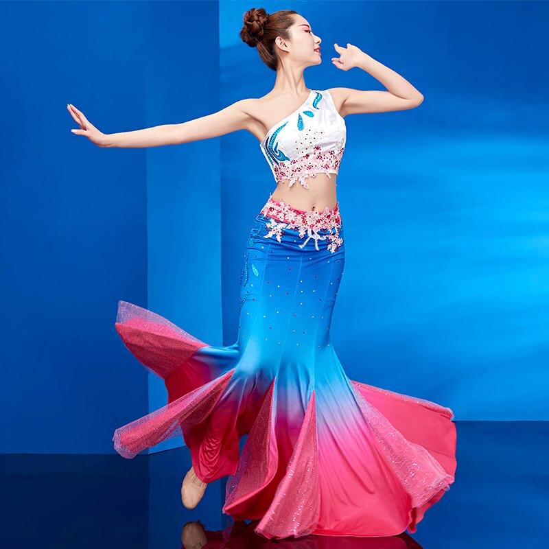 Dai Dance Costume Female New Sexy Skirt Yunnan Ethnic Style Peacock Dance Art Test Gradient Fishtail Skirt