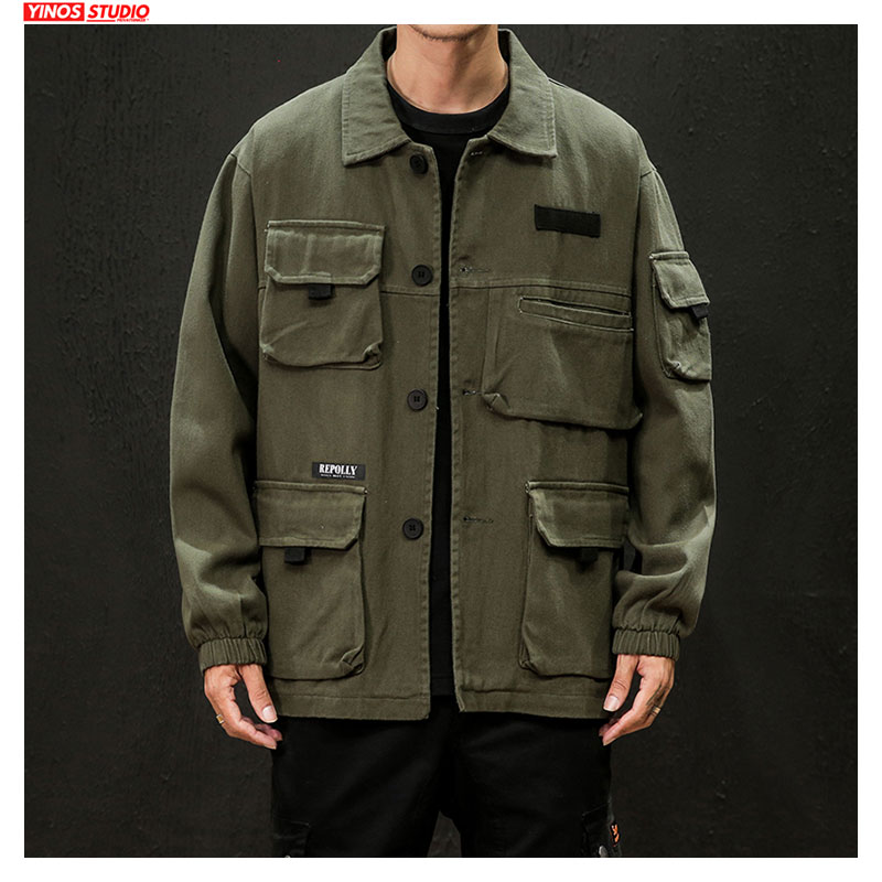 Dropshipping 2020 Autumn Japanese Cargo Coats Male Streetwear Fashion Overalls Tops Outdoor Muliti-Pocket Jacket