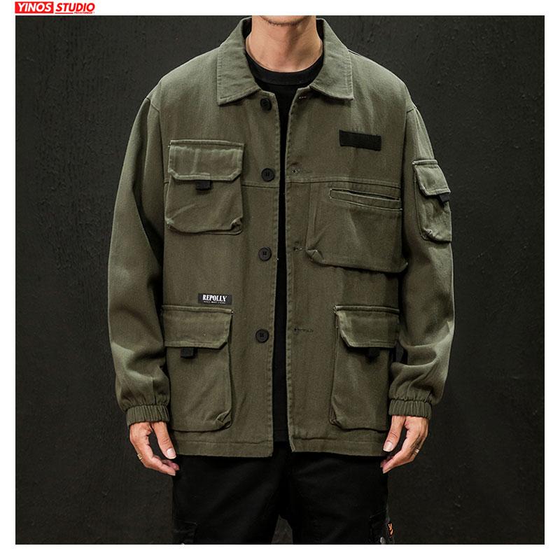 Dropshipping 2020 Autumn Japanese Cargo Coats Male Streetwear Fashion Overalls Tops Outdoor Muliti-Pocket Jacket