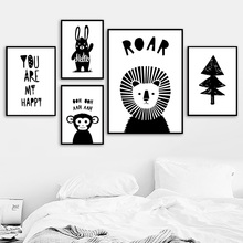 Black White Lion Rabbit Monkey Quotes Nordic Posters And Prints Wall Art Canvas Painting Cartoon Pictures Kids Room Decor