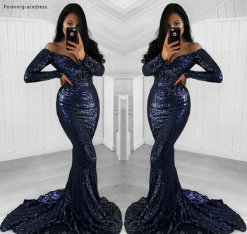 2019 Sexy Navy Blue Sequined Prom Dress Long Sleeves Formal Pageant Holidays Wear Graduation Evening Party Gown Plus Size