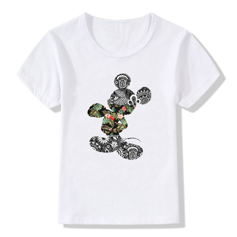 Boys T-shirt Children T-shirt Mickey Print Summer Casual Round Neck Short Sleeve Toddler Baby Clothes Girls Tops Boys T-shirt