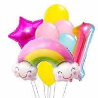 Lote de 8 unidades de globos de papel arcoíris, adornos para fiesta de cumpleaños, juguetes para niñas de 1/2/3/4/5, 32 pulgadas, números, suministros para fiestas