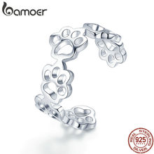 BAMOER Hot Sale 925 Sterling Silver Adjustable Cat And Dog Footprints Paw Trail Rings for Women Party Silver Jewelry SCR424(China)