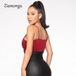 Ziamonga черное белое красное Сексуальное Кружевное боди с вышивкой прозрачный слитный комбинезон без рукавов Комбинезоны Женский комбинезон