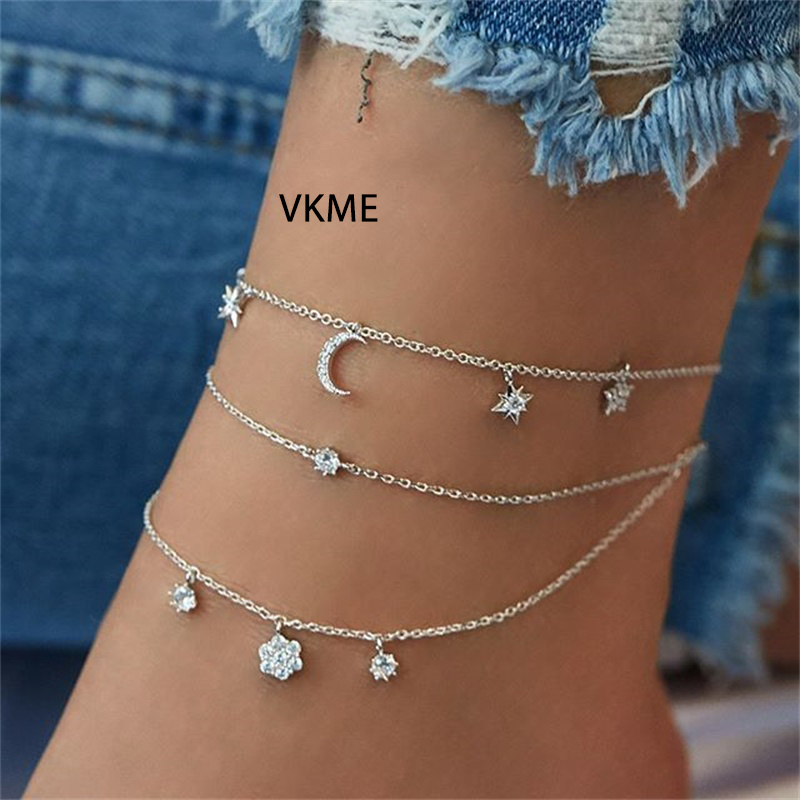 VKME Zircon Star Moon pendant Multilayer Anklet Beach Jewelry