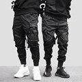 2019 хип-хоп брюки Карго карманы мужские уличные Харадзюку бегунов брюки хип-хоп Swag Ribbion шаровары модные повседневные брюки