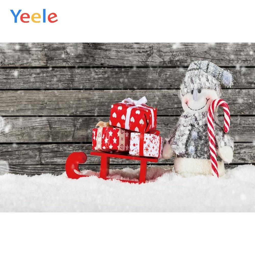 Yeele Christmas Photocall Sled Retro Wood Snowman Photography Backdrops Personalized Photographic Backgrounds For Photo Studio