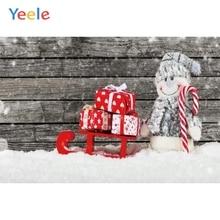 Yeele Christmas Photocall Sled Retro Wood Snowman Photography Backdrops Personalized Photographic Backgrounds For Photo Studio kate gray wood backgrounds for photo studio christmas with snowman scenic photography backdrops children gingerbread background