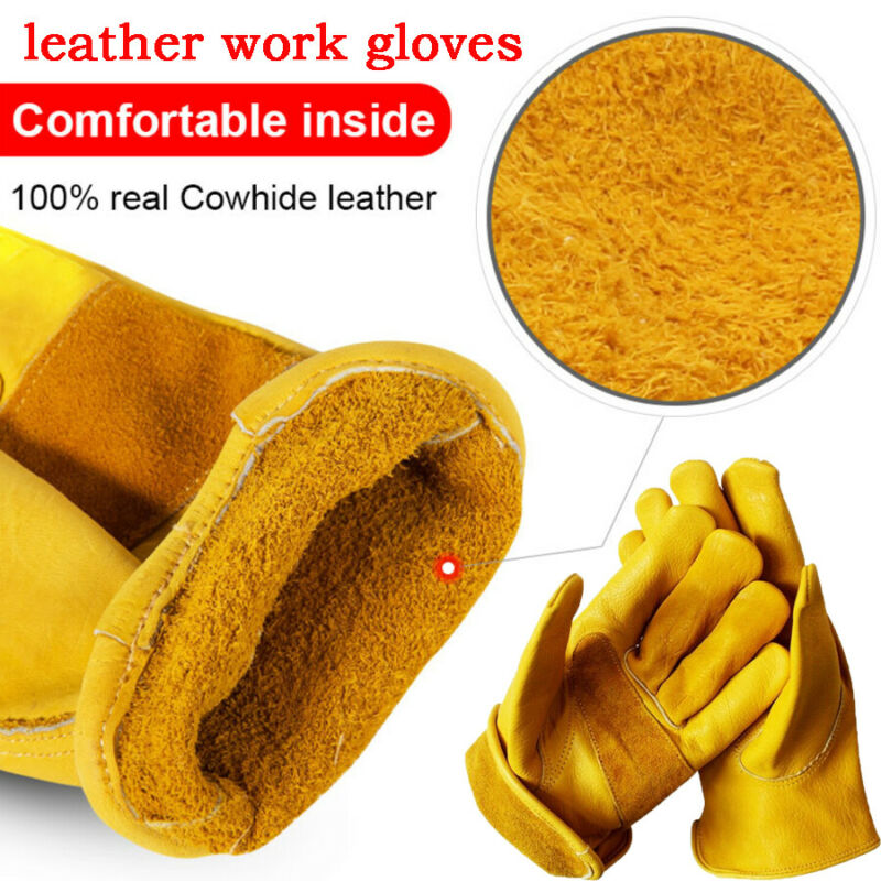 1 Pair New Premium Leather Work Gloves Wells Lamont Outdoor Sport Leather Gardening Gloves