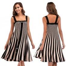 2021Summer Women's Dress Knitted Simple Temperament Stitching Strap Striped Dress for Women Dresses Women
