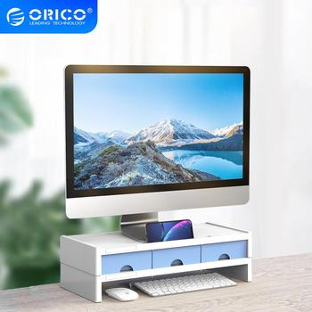ORICO Multi-function Monitor Stand Riser Desktop Holder Bracket with 3 Drawer Storage Box Organizer for Home Office Laptop PC