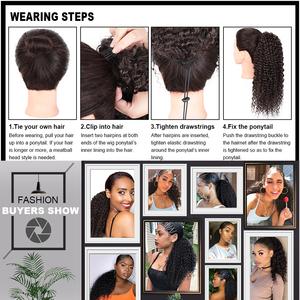 Image 5 - AISIBEAUTY Drawstring Puff Ponytail Afro Kinky Curly Hair Extension Synthetic Clip in Pony Tail  African American Hair Extension