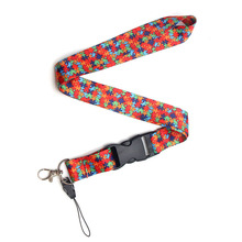 CA103 Autism Puzzle Multi-function Mobile Phone Key Strap Rope Lanyard Neckband Decoration 1pcs