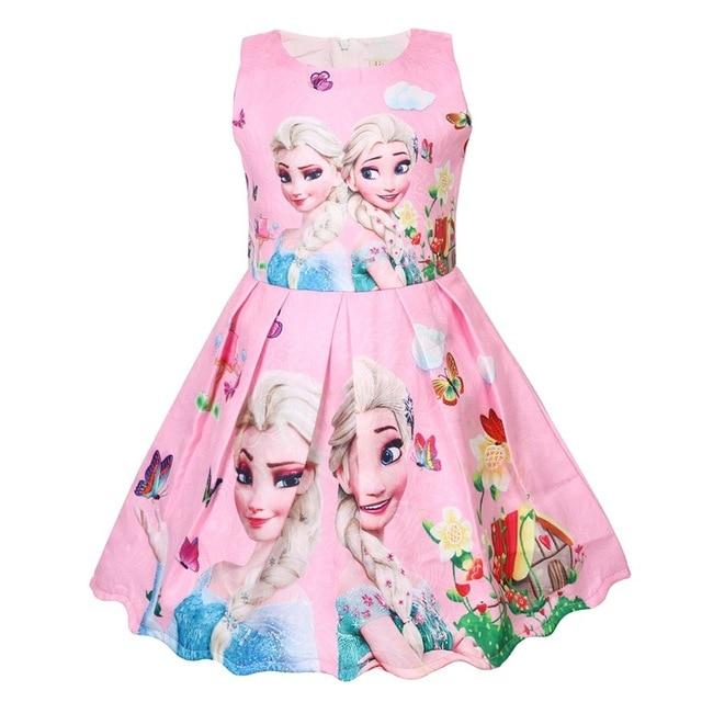 Królowa śniegu Elsa Anna Cosplay dziewczyny sukienka urodziny prezent dla kostium dla dzieci Tutu dziewczyny letnia sukienka typu princesse odzież dla dzieci