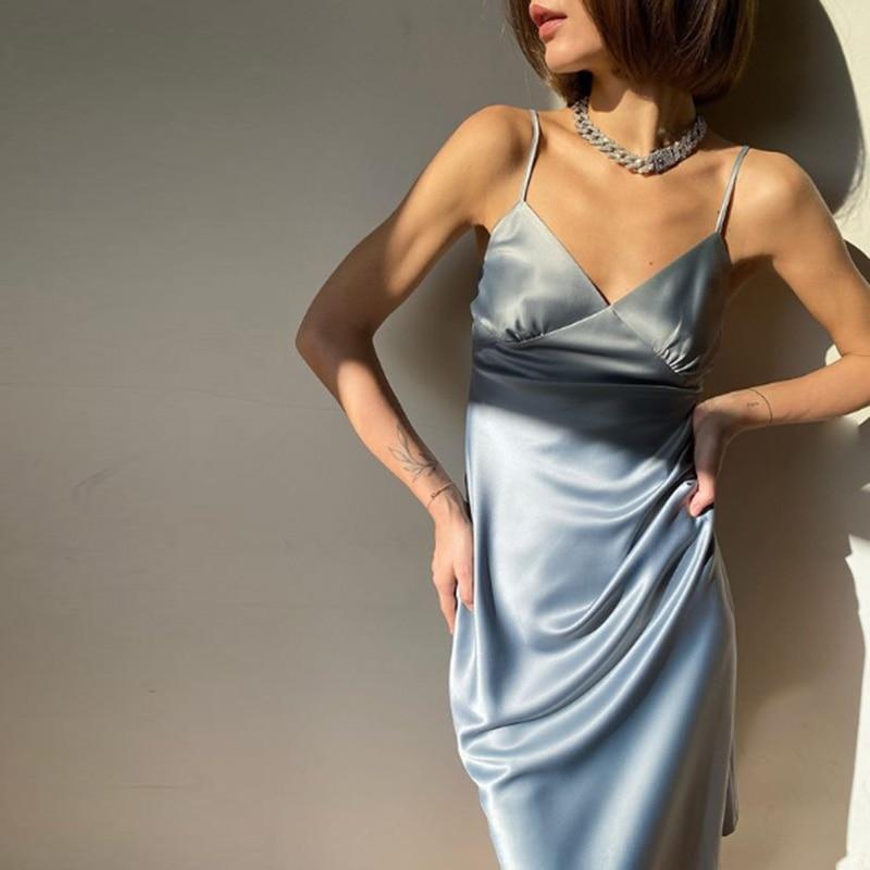2021 Women Satin Deep V Neck Sexy Dress Solid Straight Pajamas Party Dress Elegant Female Summer Spaghetti Strap Dress Casual 1