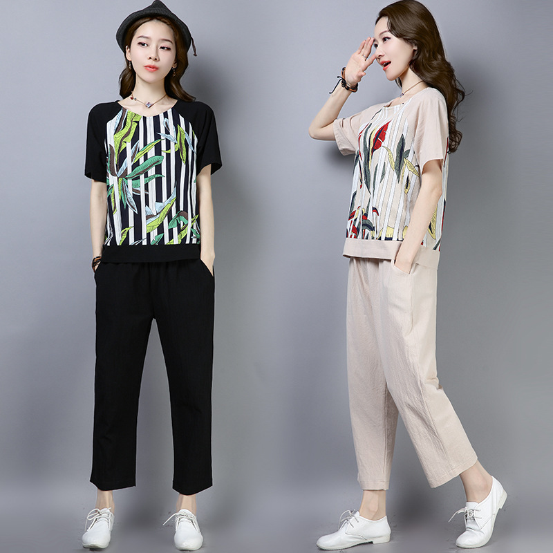 2019 Summer Wear New Style Cotton Linen Loose-Fit Leisure Suit Joint Printed Shirt + 8 Points Skinny Pants Set