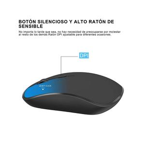 Image 5 - Spanish wireless keyboard and mouse combination, 2.4 gigahertz stable connection rechargeable battery, portable mute black