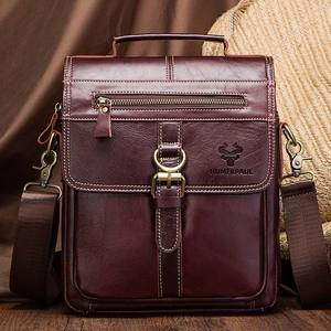 Image 4 - famous brand Genuine Leather Shoulder Bag Men Messenger Bags Handbag Busines Bolsas Travel Sling Crossbody for Male ipad Tote